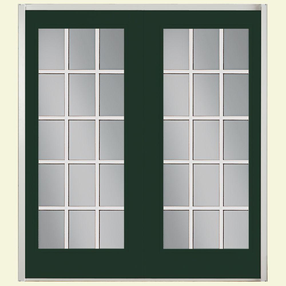Prehung 15 Lite GBG Fiberglass Patio Door with No Brickmold in Vinyl Frame
