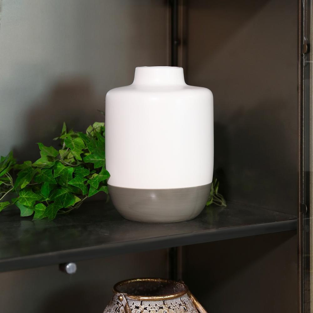 Gray, White Matte Stoneware Decorative Vase
