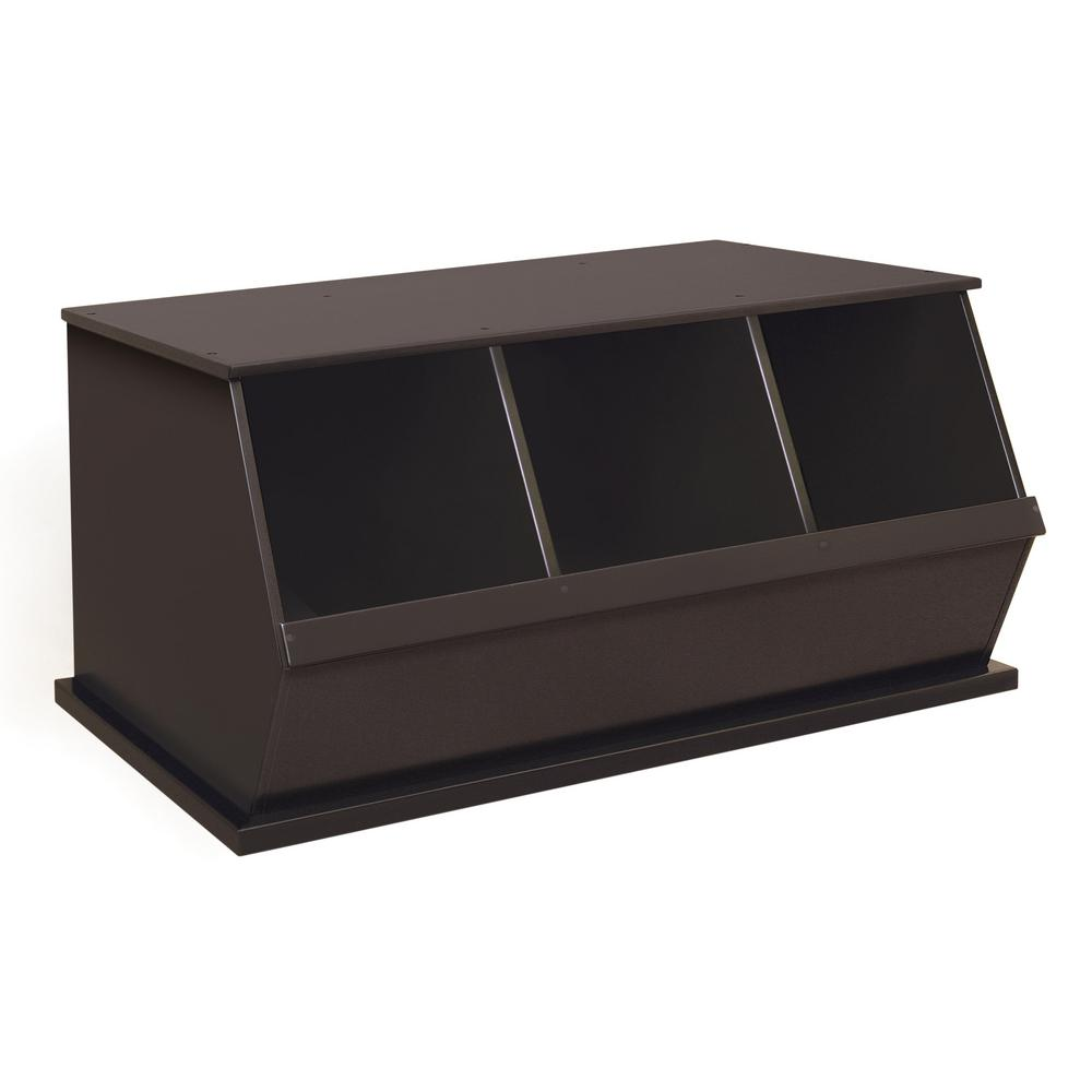 37.25 in. W x 19.25 in. D Espresso Stackable 3-Storage Cubbies