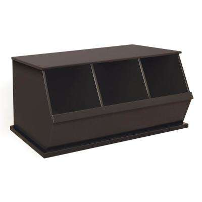 37 in. W x 17 in. H x 19 in. D Espresso Stackable 3-Storage Cubbies