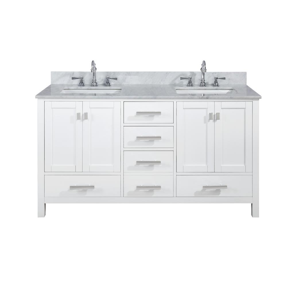 Valentino 60 in. W x 22 in. D Bath Vanity in White with Carrara Marble Vanity Top in White with White Basin