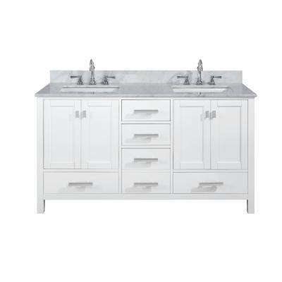 Valentino 60 in. W x 22 in. D Bath Vanity in White with Carrara Marble Vanity Top in White with White Basin