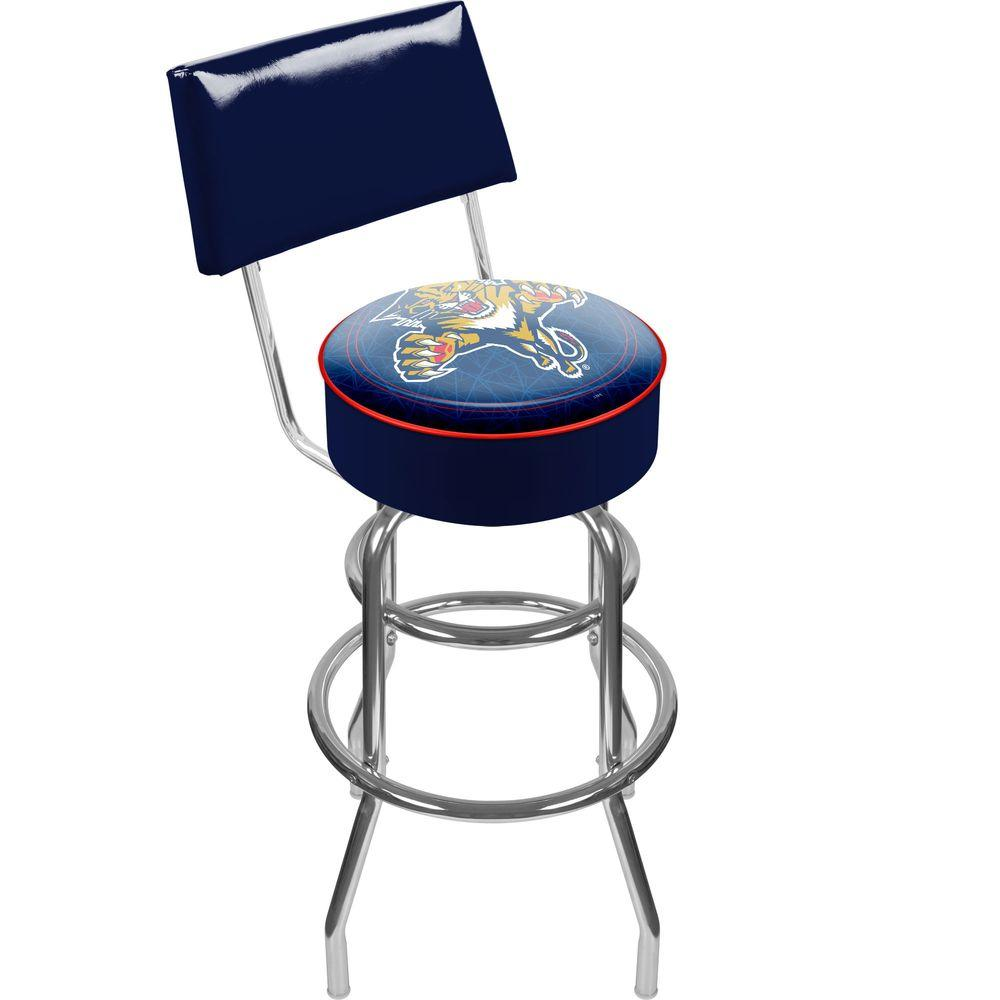 Trademark NHL Florida Panthers Padded Swivel Bar Stool in Back