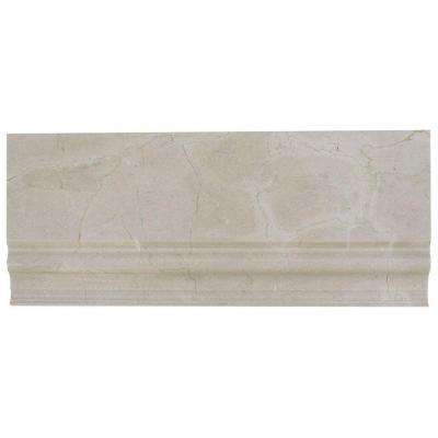 Crema Marfil Base Molding 4.75 in. x 12 in. x 10 mm Marble Mosaic Accent and Trim Tile.