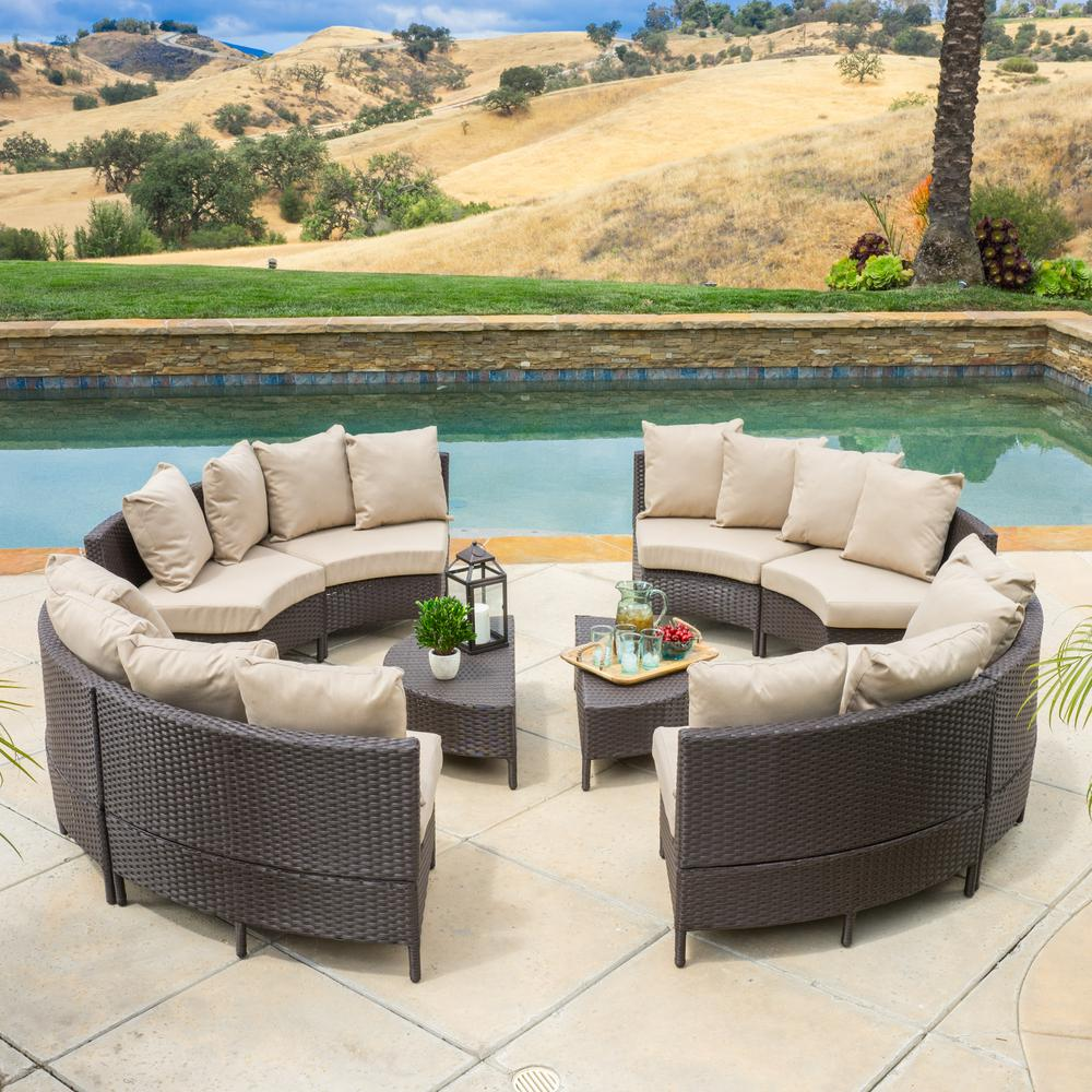 Noble House Newton Dark Brown 10-Piece Wicker Outdoor Sectional Set with Taupe Cushions