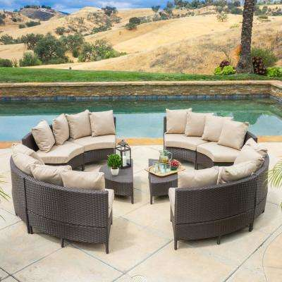 Newton Dark Brown 10-Piece Wicker Outdoor Sectional Set with Taupe Cushions