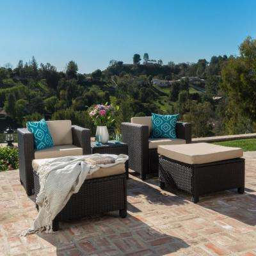 5-Piece Wicker Patio Conversation Set with Beige Cushions