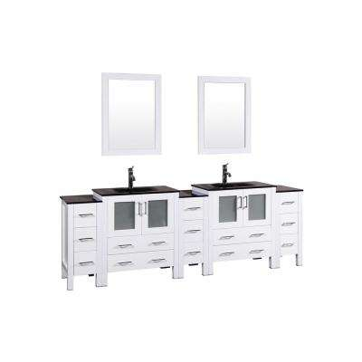 96 in. W Double Bath Vanity in White with Tempered Glass Vanity Top with Black Basin and Mirror