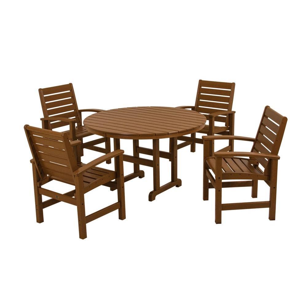 Signature Teak 5-Piece Patio Dining Set