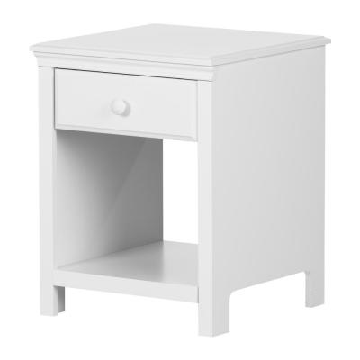 Cotton Candy 1-Drawer Pure White Nightstand
