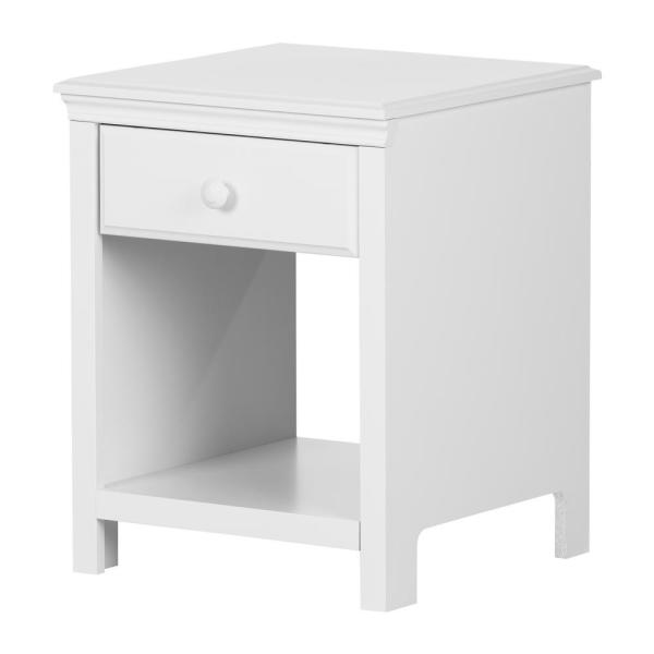 South Shore Cotton Candy 1-Drawer Pure White Nightstand 12141