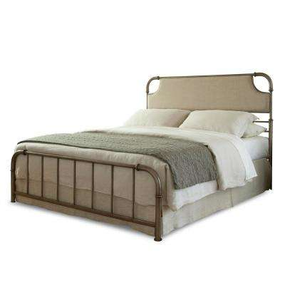 dahlia aged iron full snap bed with upholstered headboard and folding metal side rails