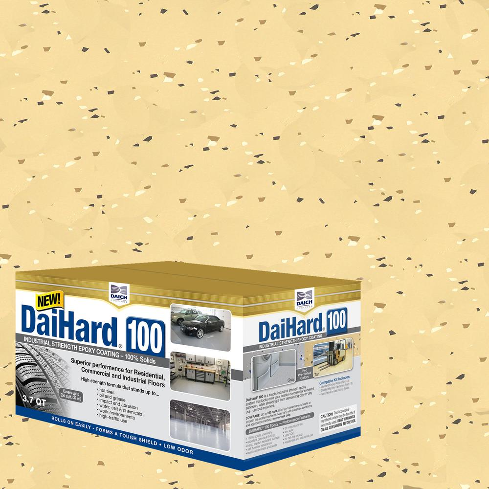DAICH DaiHard Industrial Strength 3.7 Qt. Tan Gloss 100% Solids Epoxy Concrete Floor Coating Kit