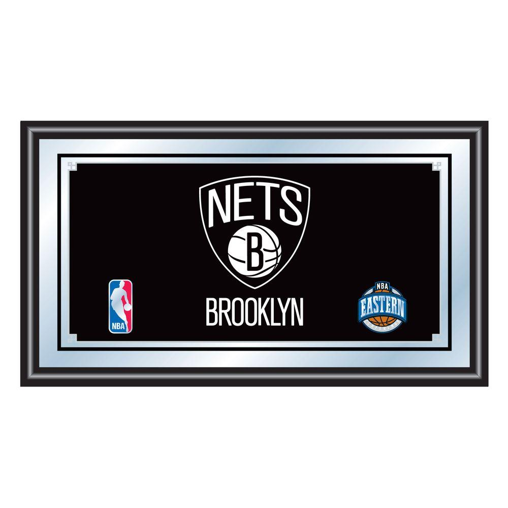 null Brooklyn Nets NBA 15 in. x 26 in. Black Wood Framed Mirror