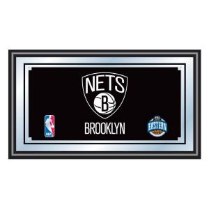 Brooklyn Nets NBA 15 in. x 26 in. Black Wood Framed Mirror