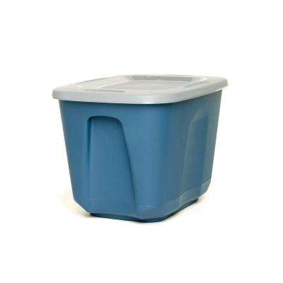 EcoStorage 10 Gallon Storage Container, Blue Base with Grey Lid, Set of 4