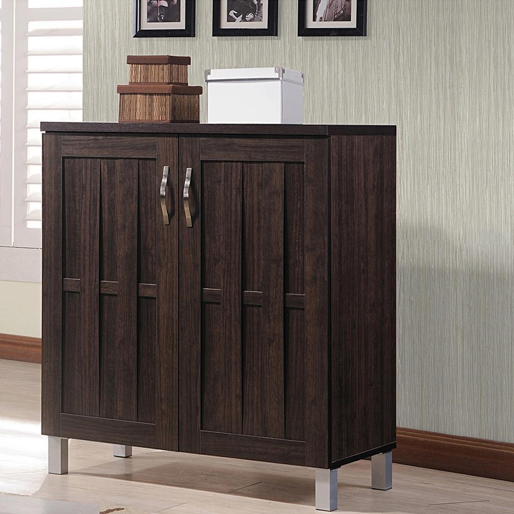 2a586df8e7d Baxton Studio Calvin Wood Shoe Storage Cabinet in Dark Brown ...