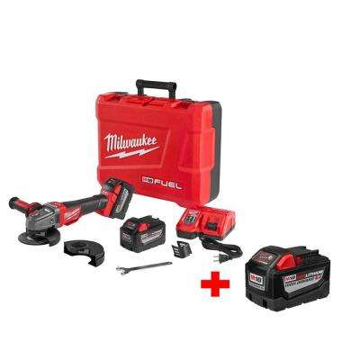 M18 FUEL 18-Volt Lithium-Ion Brushless 4-1/2 in. /5 in. Cordless Braking Grinder 9.0Ah Kit with Free 9.0Ah Battery