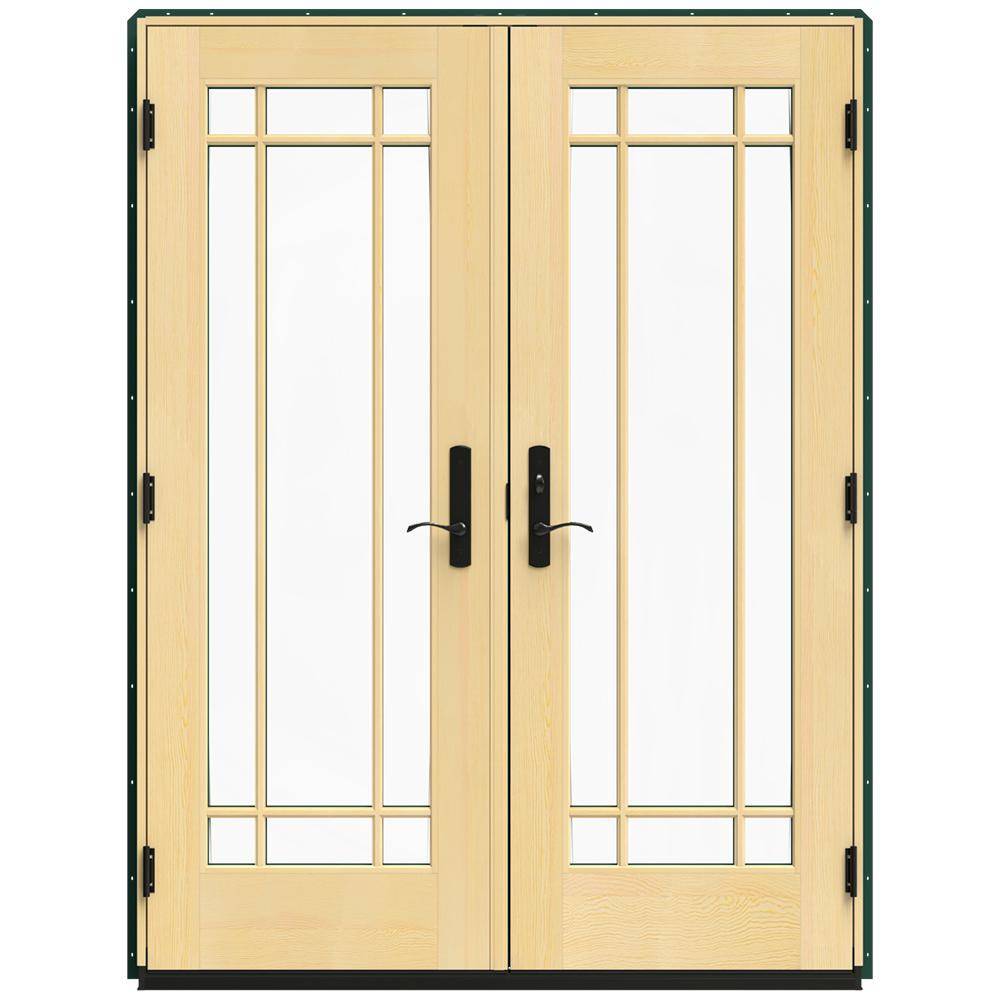 Jeld Wen 60 In X 80 In W 4500 Green Clad Wood Left Hand 9 Lite French Patio Door W Lacquered