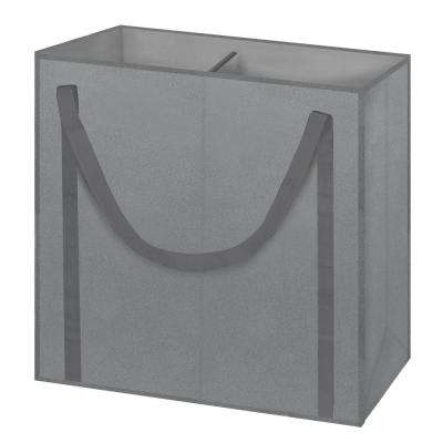 Gray Non Woven 2 Section Toteable Hamper