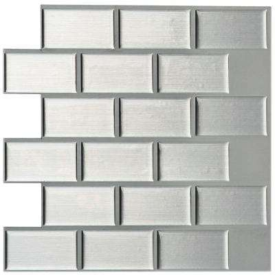 3 in. x 6 in. Peel and Stick Mosaic Decorative Wall Tile Sample in Silver Metallic