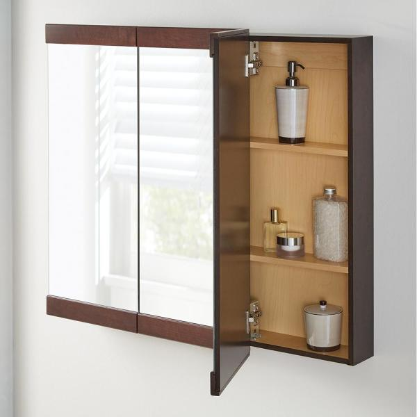 Home Decorators Collection 36 1 4 In W X 29 3 4 In H Fog Free Framed Surface Mount Tri View Bathroom Medicine Cabinet In Java 45439 The Home Depot
