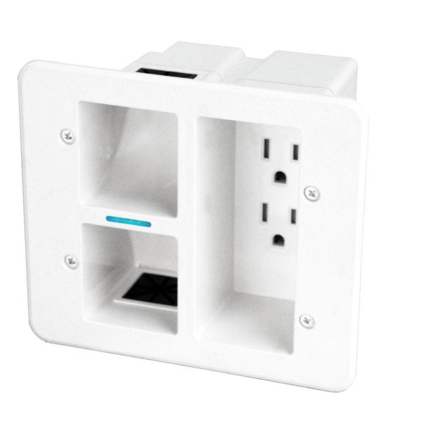 Flat Panel 2-Outlet TV Surge Protected Power Outlet Relocator