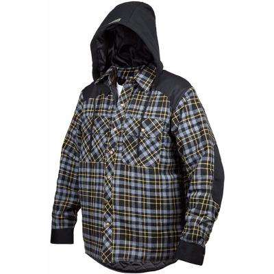 Men's Medium Grey Blast Quilted and Lined Lumberjack Flannel Winter Jacket