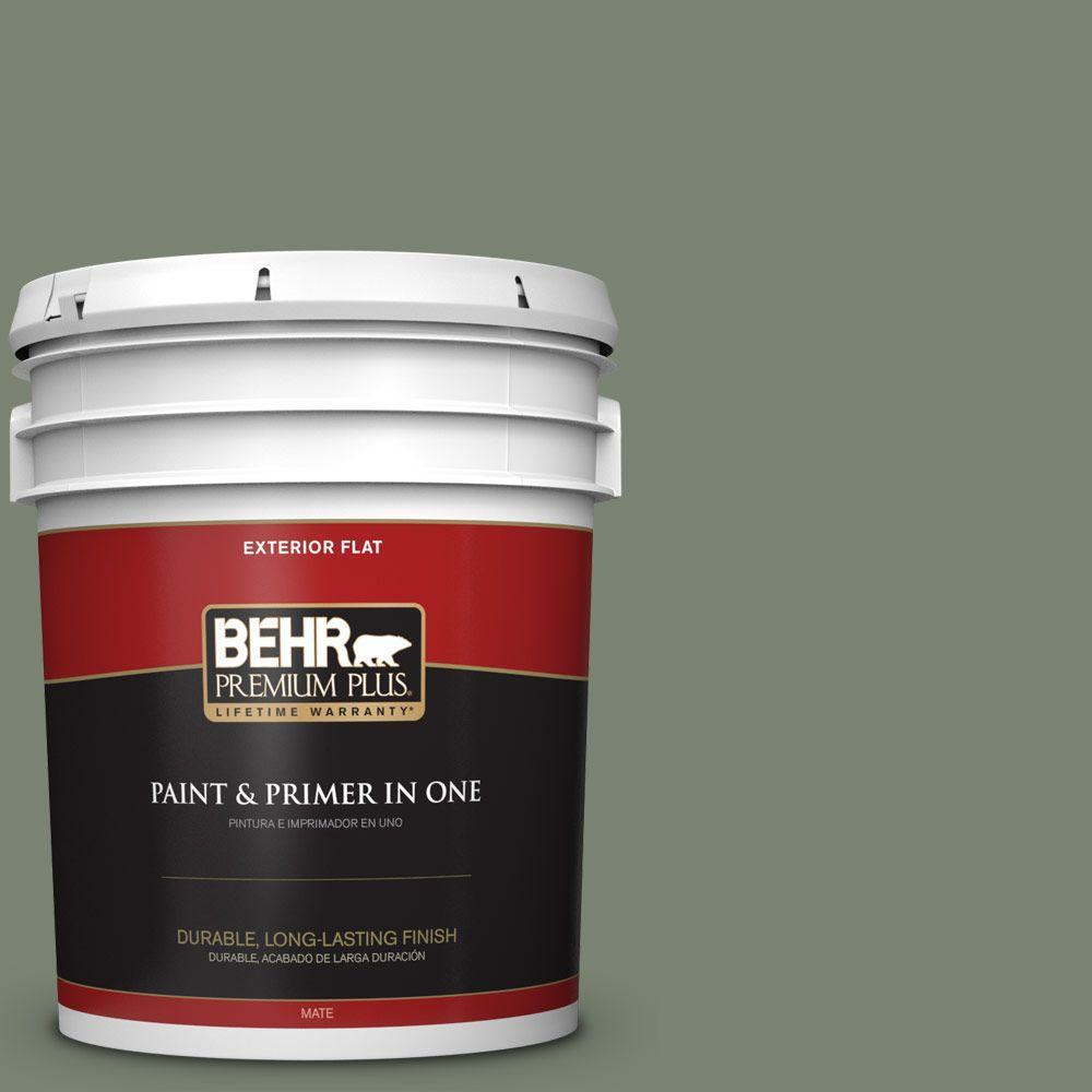 BEHR Premium Plus 5-gal. #ICC-77 Sage Green Flat Exterior Paint