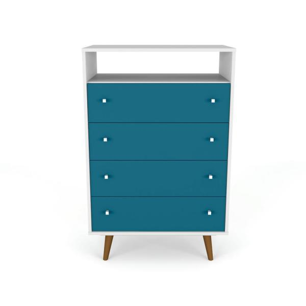 Manhattan Comfort Liberty 4-Drawer White and Aqua Blue Dresser Chest 209BMC63