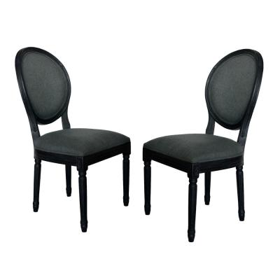 Hiro Traditional Dark Gray Fabric Armless Dining Chairs (Set of 2)