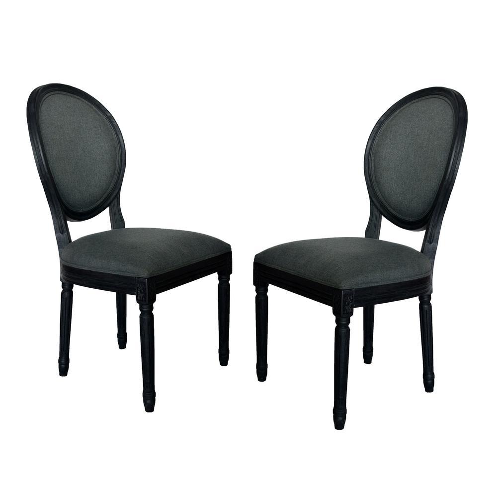 Hiro Traditional Dark Gray Fabric Armless Dining Chairs (Set of 2)