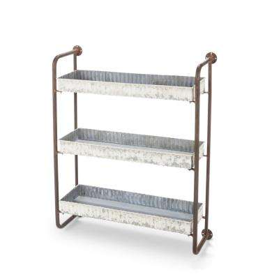 Antique White Metal Wall Rack