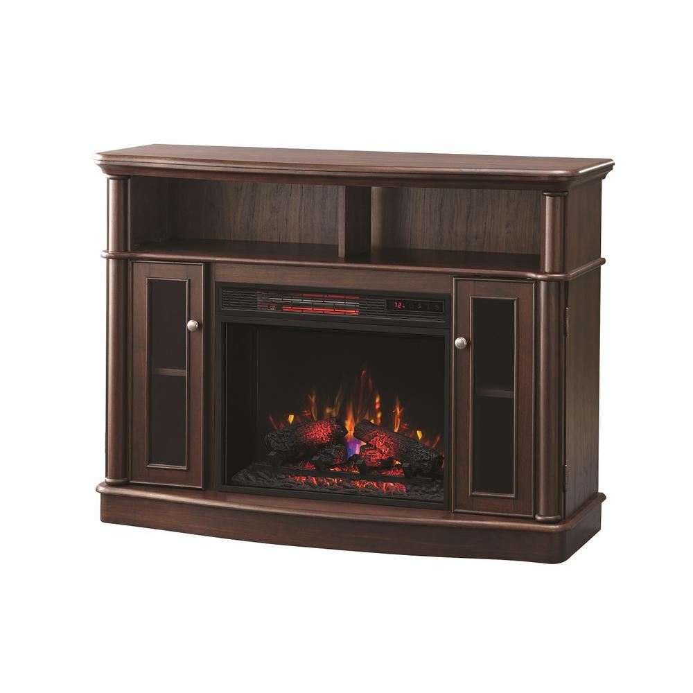 7b9eeb327b7 Home Decorators Collection Tolleson 48 in. TV Stand Infrared Bow Front  Electric Fireplace in Mocha