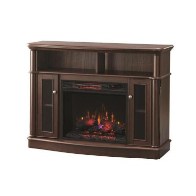 Tolleson 48 in. TV Stand Infrared Bow Front Electric Fireplace in Mocha