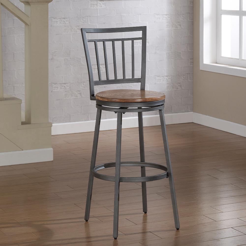 American Woodcrafters Filmore 30 In Grey Swivel Bar Stool