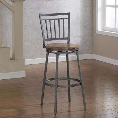 Filmore 30 in. Grey Swivel Bar Stool