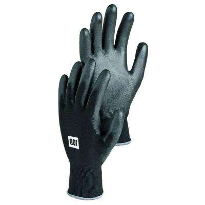 Beryllium Size 7 Small Tear Resistant Smooth PU Dipped Breathable Stretch Nylon Glove in Black