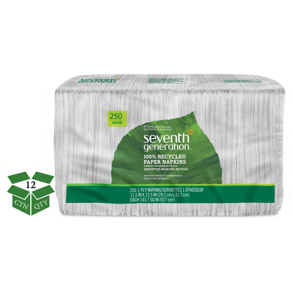 SEVENTH GENERATION 100% Recycled White Luncheon Napkins (250/Pack) (12 Packs Per Carton)