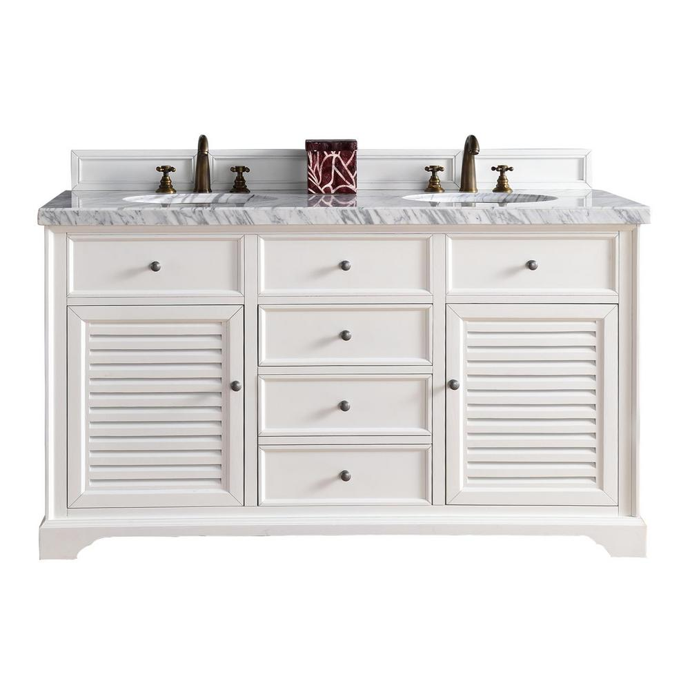 James Martin Vanities Savannah 60 In W Double Vanity Cottage White With Marble Top Carrara Basin