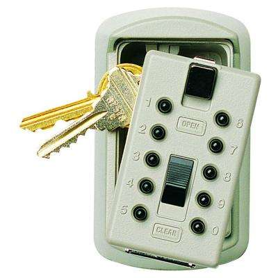 Slimline 2-Key Box with Pushbutton Lock, Clay