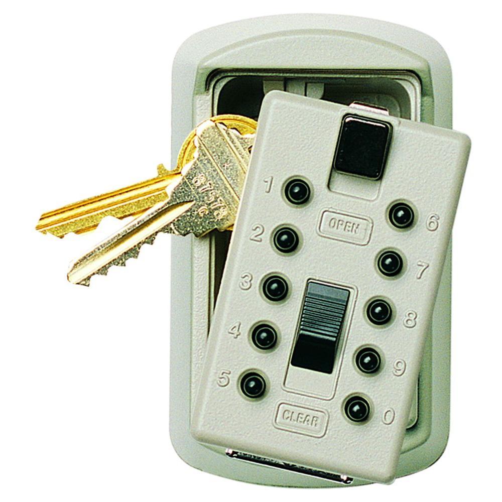 Kidde AccessPoint 001413 KeySafe Original Slimline Push Button Combination Permanent Key Lock Box White 2-Key