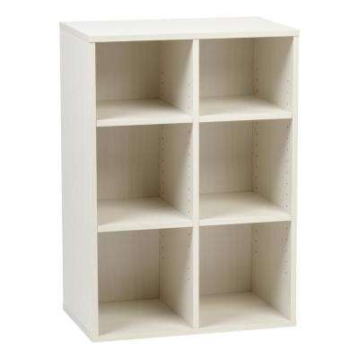 Collan Series Off-White 6-Cube Wood Shelf