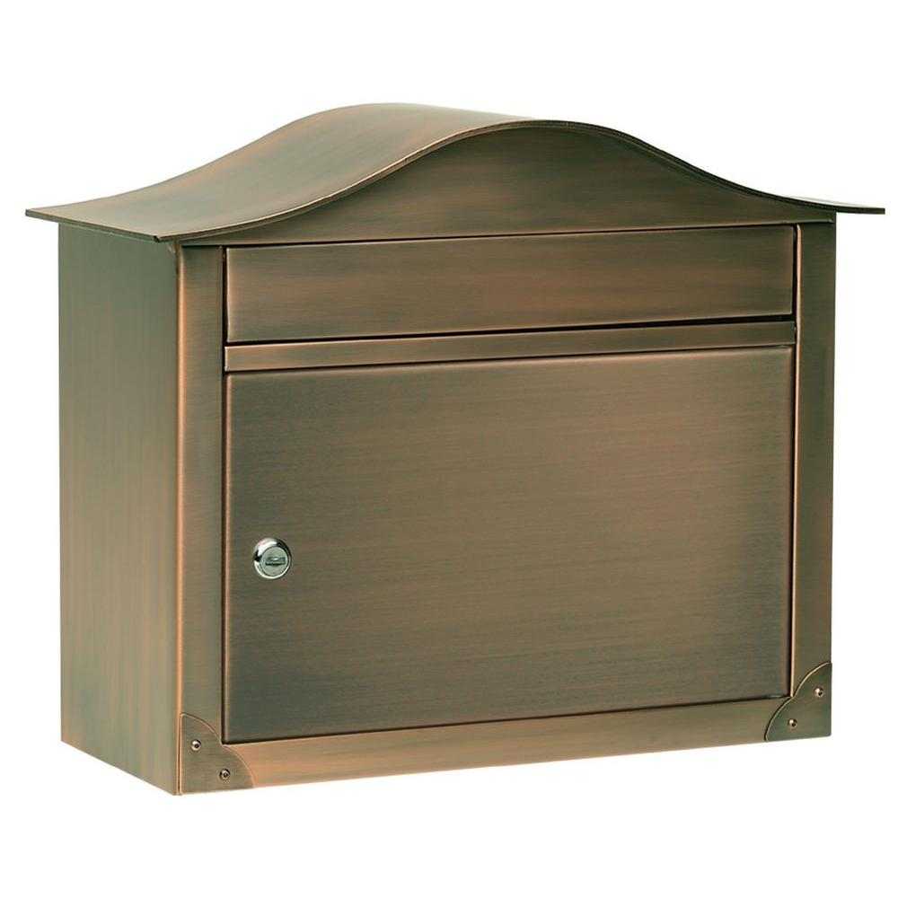 Architectural Mailboxes Peninsula Antique Copper Wall-Mount Locking Mailbox