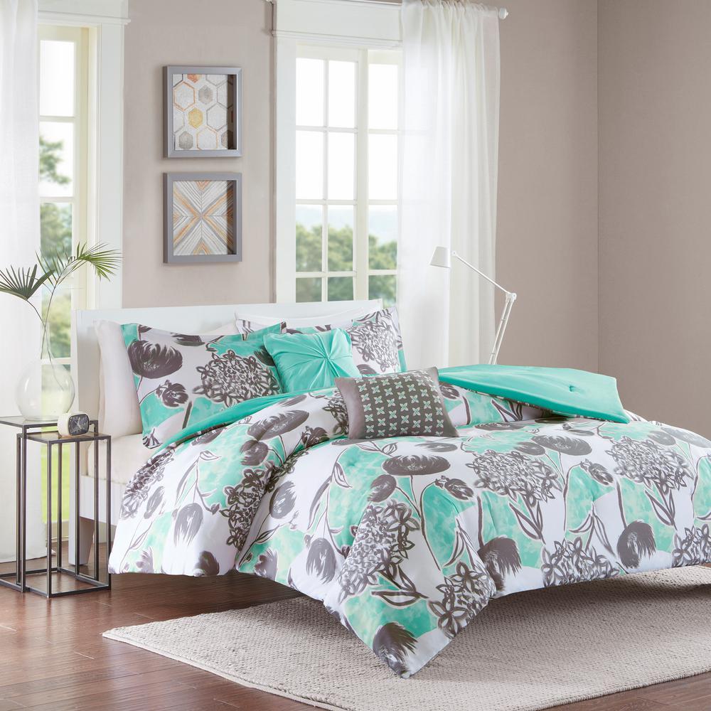 Lily 5-Piece Aqua Full/Queen Floral Comforter Set