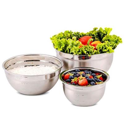 3-Piece Mixing Bowls with Lids Stainless Steel Kitchen Storage Bakeware Set
