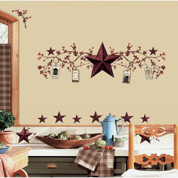 Roommates 18 In X 40 In Country Stars And Berries 40 Piece Peel And Stick Wall Decals Rmk1276scs The Home Depot