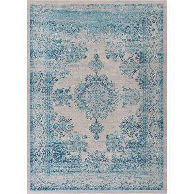 Firenze Cannes Blue 8 ft. x 10 ft. Modern Distressed Medallion Center Thin Area Rug