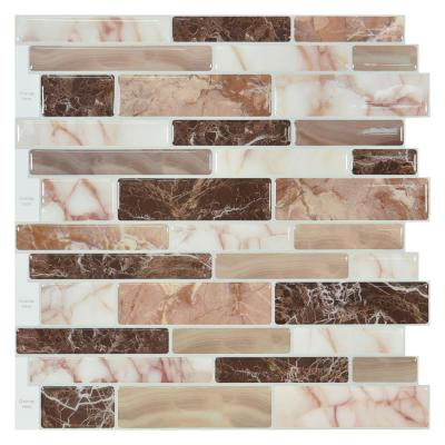11.6 in. x 11.6 in. Vinyl Peel and Stick Decorative Wall Tile Backsplash in Marble Design (10 Pack)