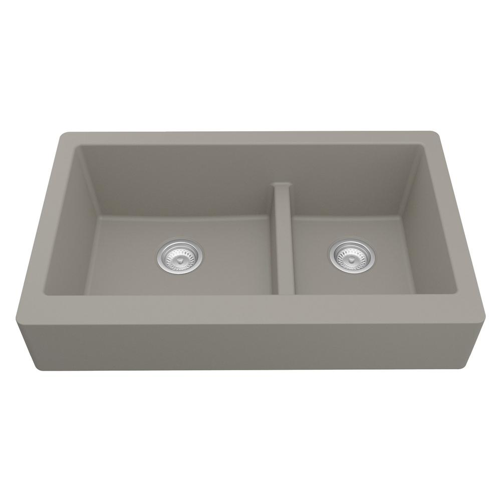 Karran Retrofit Farmhouse/Apron-Front Quartz Composite 34 in. Double Offset Bowl Kitchen Sink in Concrete